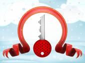 Key with xmas bow at winter scenery — Stock Vector