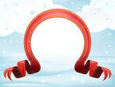 Red christmas bow at winter scenery at snowfall — Stock Vector