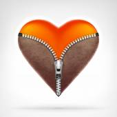 Undressed red heart at leather clothes — Stock Vector