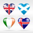 United Kingdom, Scotland, Ireland and Iceland flags — Stock Vector #64836007