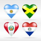 Argentina, Jamaica, Peru and Paraguay flags — Stock Vector
