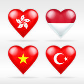 Hong Kong, Indonesia, Vietnam and Turkey flags — Stock Vector