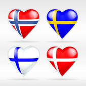 Norway, Sweden, Finland and Denmark flags — Stock Vector