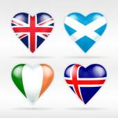 United Kingdom, Scotland, Ireland and Iceland flags — Vecteur