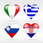 Italy, Greece, Slovenia and Croatia flags — Stock Vector