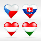 Czech republic, Slovakia, Austria and Hungary flags — Stock Vector