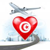 Travel concept with Tunisia flag — Stock Vector