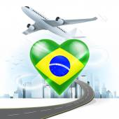 Travel concept with Brazil flag — Stock Vector