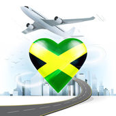 Travel concept with Jamaica flag — Stock Vector