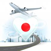 Travel concept with Japan flag — Stockvector