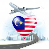 Travel concept with Malaysia flag — Stock Vector
