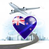 Travel concept with New Zealand flag — Stock Vector