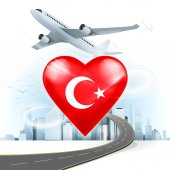 Travel concept with Turkey flag — Stock Vector