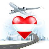Travel concept with Austria flag — Stock Vector