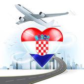 Travel concept with Croatia flag — Stock Vector