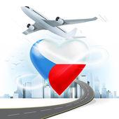 Viajes concepto con la bandera de República Checa — Vector de stock