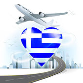 Travel concept with Greece flag — Stock Vector