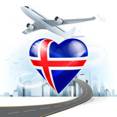 Travel concept with Iceland flag — Stock Vector