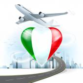 Travel concept with Italy flag — Stock Vector