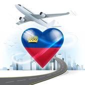 Travel concept with Liechtenstein flag — Stock Vector