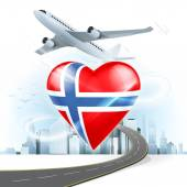 Travel concept with Norway flag — Stock Vector