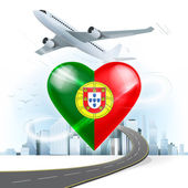 Travel concept with Portugal flag — Stock Vector
