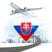 Travel concept with Slovakia flag — Stock Vector