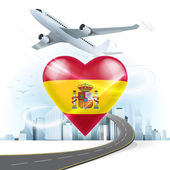 Travel concept with Spain flag — Stock Vector