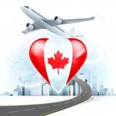 Travel concept with Canada flag — Stock Vector