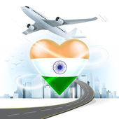 Travel concept with India flag — Stock Vector