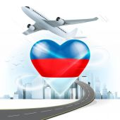 Travel concept with Russia flag — Stock Vector