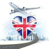 Travel concept with United Kingdom flag — Stock Vector