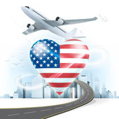 Travel concept with USA flag — Stock Vector