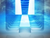 Three staircases in blue light — Stock Photo