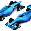 Blue 3D formula car isolated on white isometric view — Stock Photo #76643461