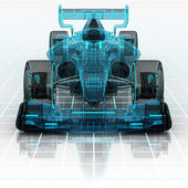 Formula car technology wireframe sketch front view — Stock Photo