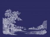 Illustrazione del villaggio — Foto Stock