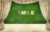Theatrical curtain with inscription Smile — Stock Photo