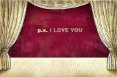 Theatrical curtain with inscription I love you — Stock Photo