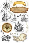 古い海賊の地図アイコン — ストック写真