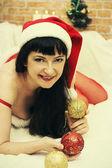 Woman in a fancy dress snow maiden — Stock Photo