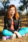 Beautiful girl teen basking — Stock Photo