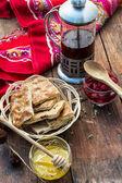 Tea ceremony and sweets — Stockfoto