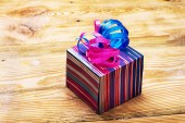 Box wrapped with a bow — Stock Photo