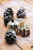 Christmas card with toys — Stok fotoğraf