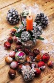 Legacy glass Christmas toy on the background of pine cones — Stock Photo