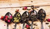 Five varieties of loose tea — Stockfoto