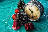 Old clock with Christmas decorations — Stock Photo