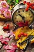 Clock in rainy weather with fallen leaves — Stock Photo