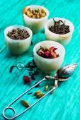 Varieties of dry,fragrant tea leaves — Foto de Stock
